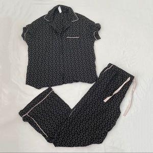 Stars Above Print Black and Pink Button Down Pajama Set